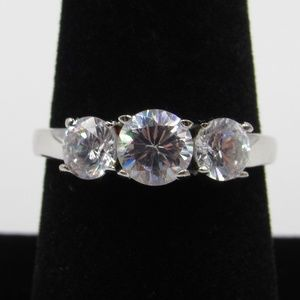 Vintage Size 8.25 Sterling Cubic Zirconia Ring